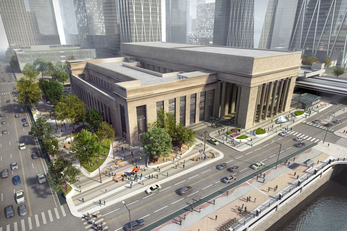 A rendering of 30th Street Station in Philadelphia. The station has tall windows and a tan facade. There are trees and roads in front of the building.