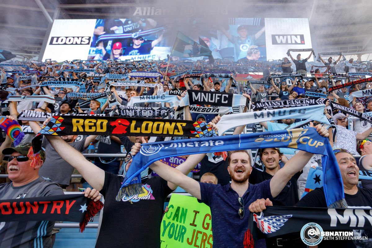 September 15, 2019 - Saint Paul, Minnesota, United States - Supporters in the Wonderwall raise their scarves and sing Wonderwall as Minnesota United defeated Real Salt Lake by a score of 3-1 at Allianz Field.
