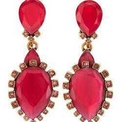 """Oscar de la Renta Bold Pear-Shaped Drop Clip-On Earrings in Sorbet, <a href=""""http://www.neimanmarcus.com/Oscar-de-la-Renta-Bold-Pear-Shaped-Drop-Clip-On-Earrings-Sorbet-Oscar-de-la-Renta/prod166650205___/p.prod?icid=&searchType=MAIN&rte=%252Fsearch.jsp%25"""