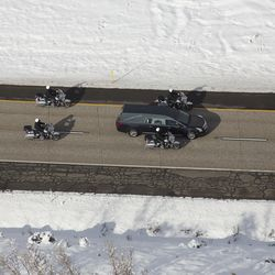 The funeral procession for Unified police officer Doug Barney makes its way to the Orem City Cemetery, where he will be laid to rest on Monday, Jan. 25, 2016. Barney was shot and killed in the line of duty by a man who seemingly had done nothing more than leave the scene of a traffic accident Sunday, Jan. 17, 2016.