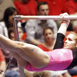 BYU's  Raquel Willman performs on the bars during the NCAA Salt Lake Regional Gymnastics Saturday, April 7, 2012 in Salt Lake City.
