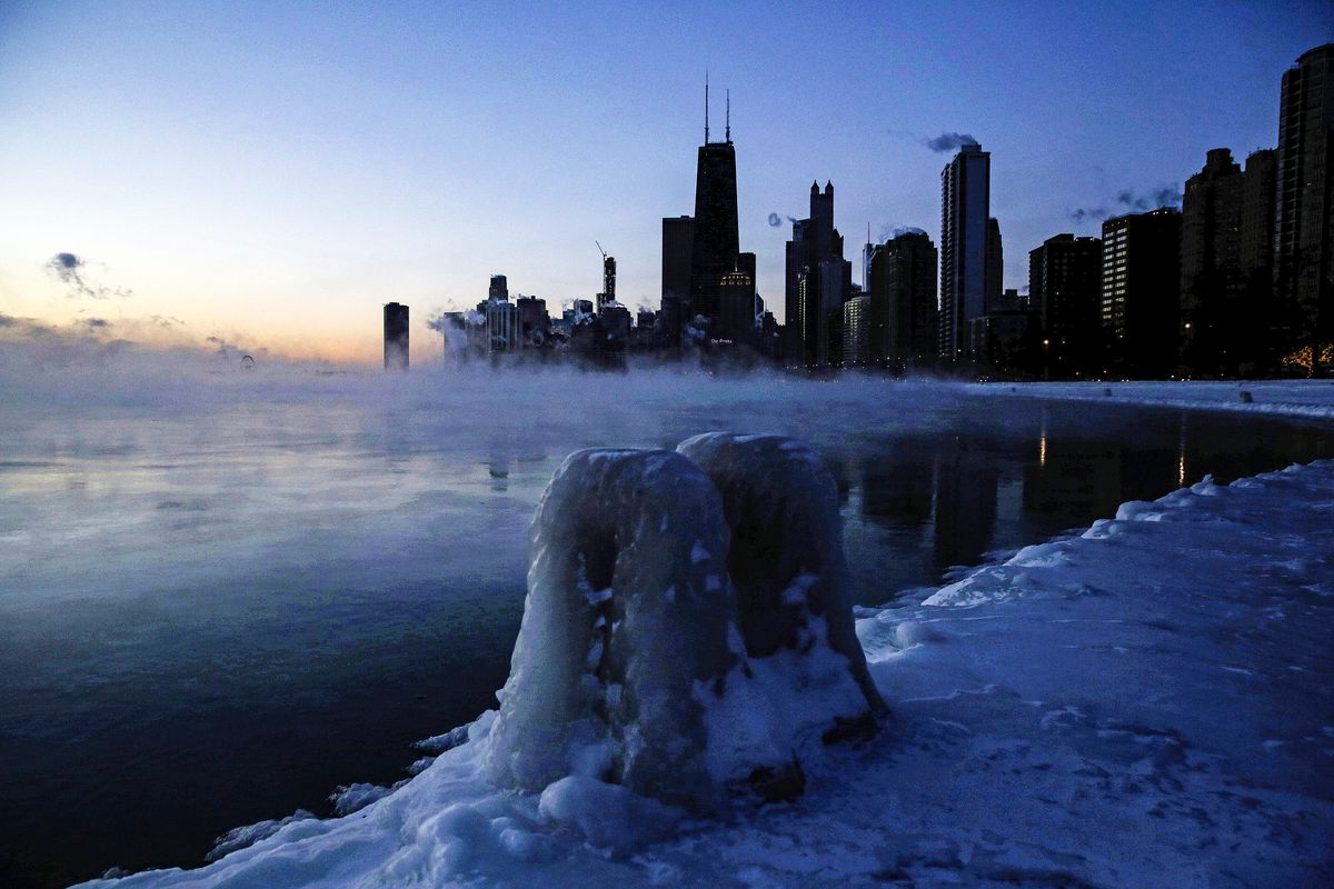 Ice forms along the shore of Lake Michigan, in Chicago, Illinois, on January 30, 2019.Kiichiro Sato/AP
