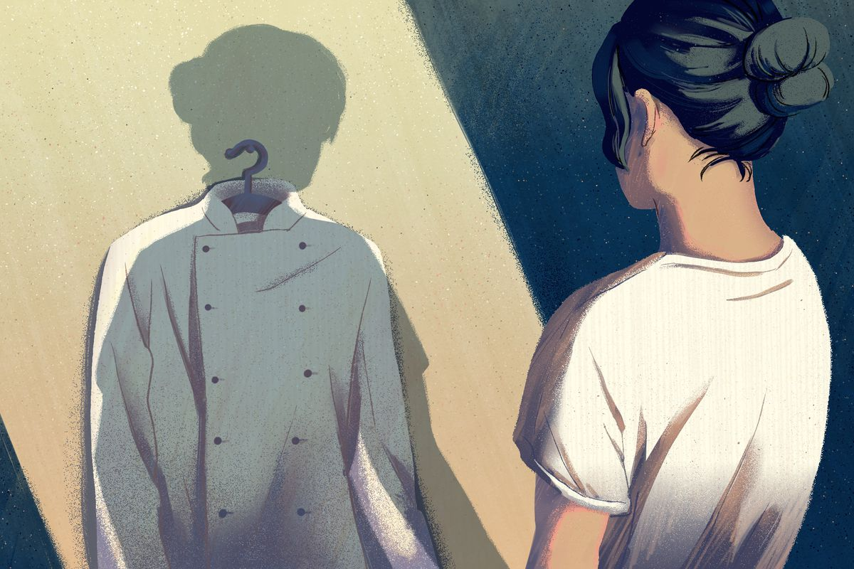 An illustration of a female chef looking at her own shadow as it falls on her chef's coat hanging on the wall.