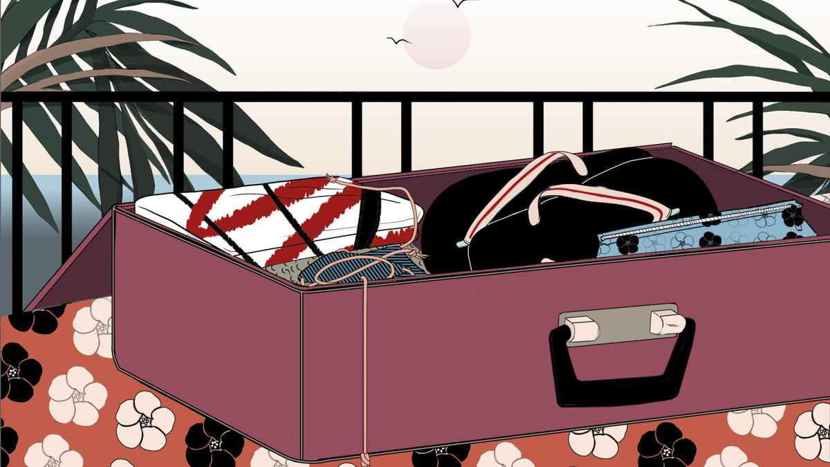 An illustration of an open suitcase with not much in it, on a bed in a tropical hotel