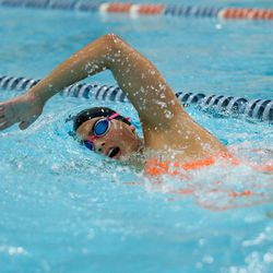 An Evanston swimmer works on her stroke during practice on August 19, 2020.