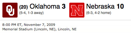 OU Nebraska 2009