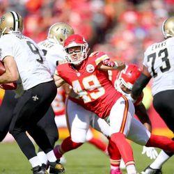 Dan Sorensen sacks future Hall of Fame quarterback Drew Brees en route to a Chiefs victory earlier this season.
