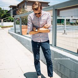 """Tim of <a href=""""http://stayclassicblog.com""""target=""""_blank"""">Stay Classic</a> is wearing a Bonobos shirt, American Eagle pants, <a href=""""http://www.zappos.com/converse-chuck-taylor-all-star-core-ox-optical-white?channel=201&si15651=&mr:referralID=9779e2c8-0"""