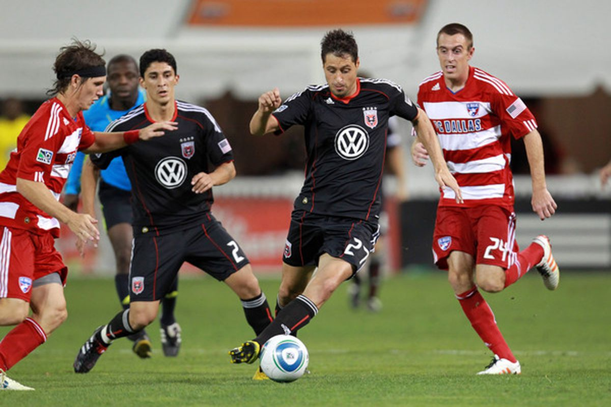 WASHINGTON - AUGUST 14: Branko Boskovic #27 of D.C. United controls the ball against Eric Alexander #24 of FC Dallas at RFK Stadium on August 14 2010 in Washington DC. (Photo by Ned Dishman/Getty Images)