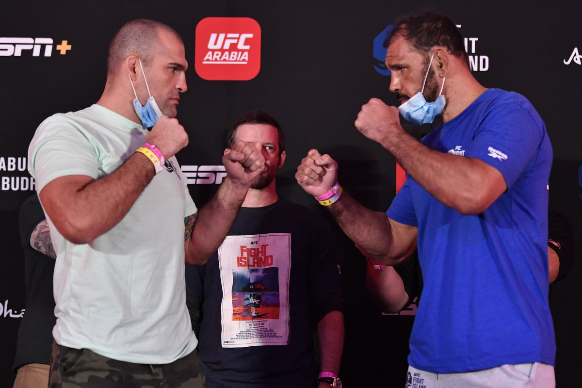 Opponents Mauricio 'Shogun' Rua of Brazil and Antonio Rogerio Nogueira of Brazil face off during the UFC Fight Night weigh-in inside Flash Forum on UFC Fight Island on July 24, 2020 in Yas Island, Abu Dhabi, United Arab Emirates.