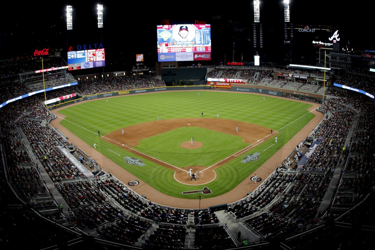 An overview of the baseball stadium during the game between the Atlanta Braves and the San Diego Padres on April 15, 2017 at SunTrust Park, in Atlanta, GA.