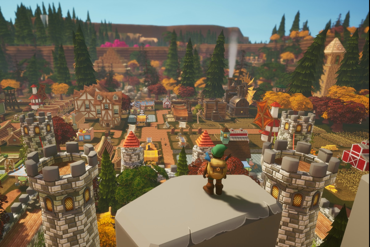 Dwarrows - a player looks out over the vast town they have built