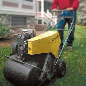 <p>A rented gas-powered aerator, which removes plugs of earth, can improve the drainage of a soggy lawn. Leave the extruded plugs alone; they'll soon decompose on their own.</p>