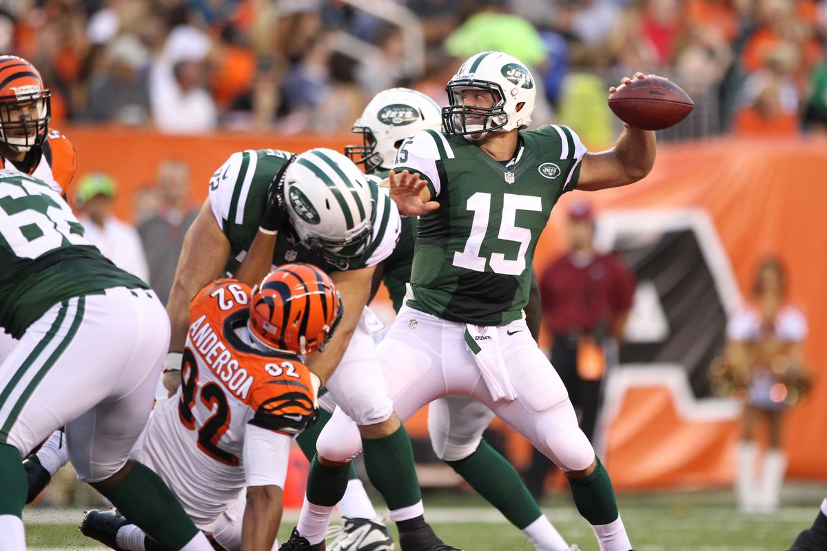 Aug 10, 2012; Cincinnati, OH, USA; New York Jets quarterback Tim Tebow (15) throws in the pocket in the second quarter against the Cincinnati Bengals at Paul Brown Stadium. Matthew Emmons-US PRESSWIRE