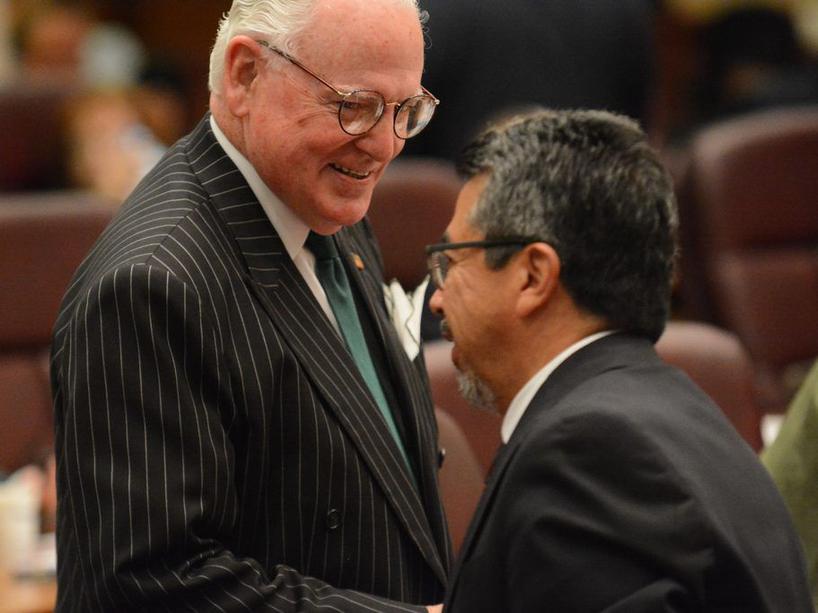 Ald. Edward M. Burke and Ald. Danny Solis at a City Council meeting in 2016. | Sun-Times files