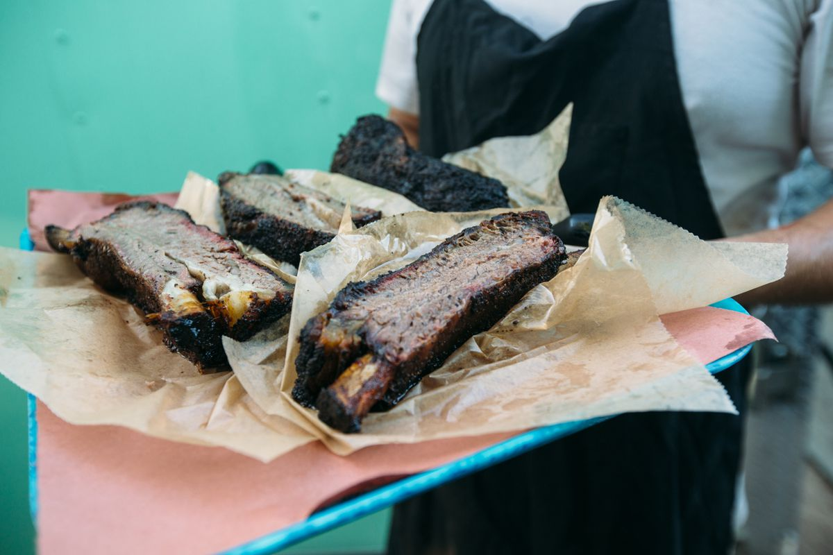 Franklin Barbecue's ribs at the Hi, How Are You party
