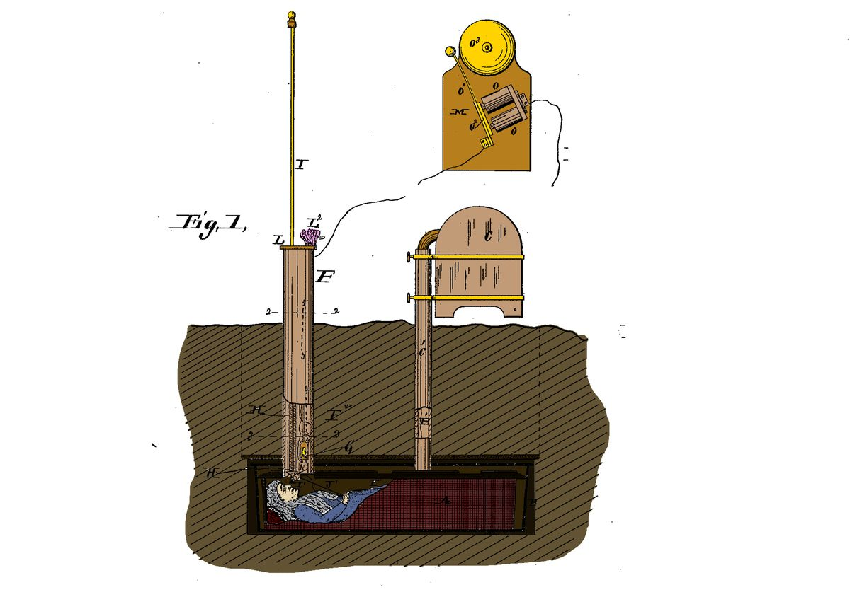 This coffin is the ultimate bell-ringing prototype.
