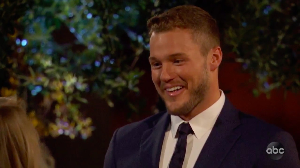 Colton from The Bachelor, deflecting questions about his virginity.