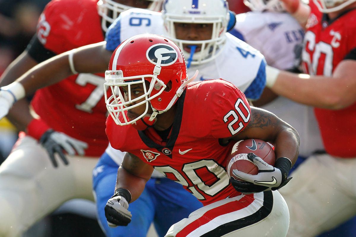 ATHENS, GA - NOVEMBER 19:  Brandon Harton #20 of the Georgia Bulldogs rushes against the Kentucky Wildcats at Sanford Stadium on November 19, 2011 in Athens, Georgia.  (Photo by Kevin C. Cox/Getty Images)