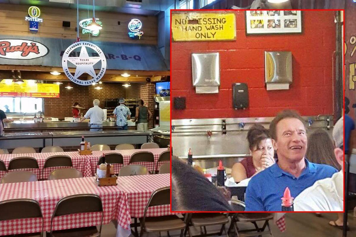 Arnold Schwarzenegger dining at Rudy's