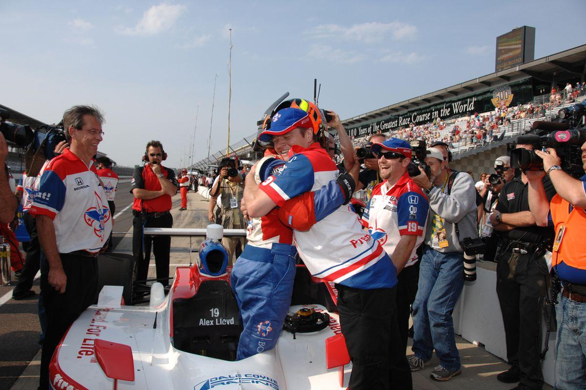 Alex Lloyd celebrates his successful Bump Day qualifying run at the Indianapolis Motor Speedway on May 22, 2011. (Photo: Dana Garrett/IndyCar.com)