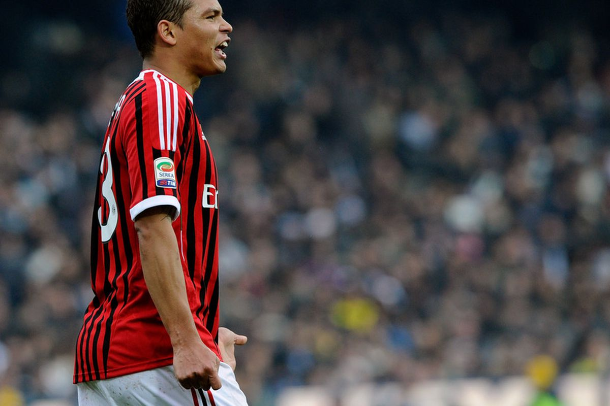 CESENA, ITALY - FEBRUARY 19:  Thiago Silva of AC Milan during the Serie A match between AC Cesena and AC Milan at Dino Manuzzi Stadium on February 19, 2012 in Cesena, Italy.  (Photo by Claudio Villa/Getty Images)