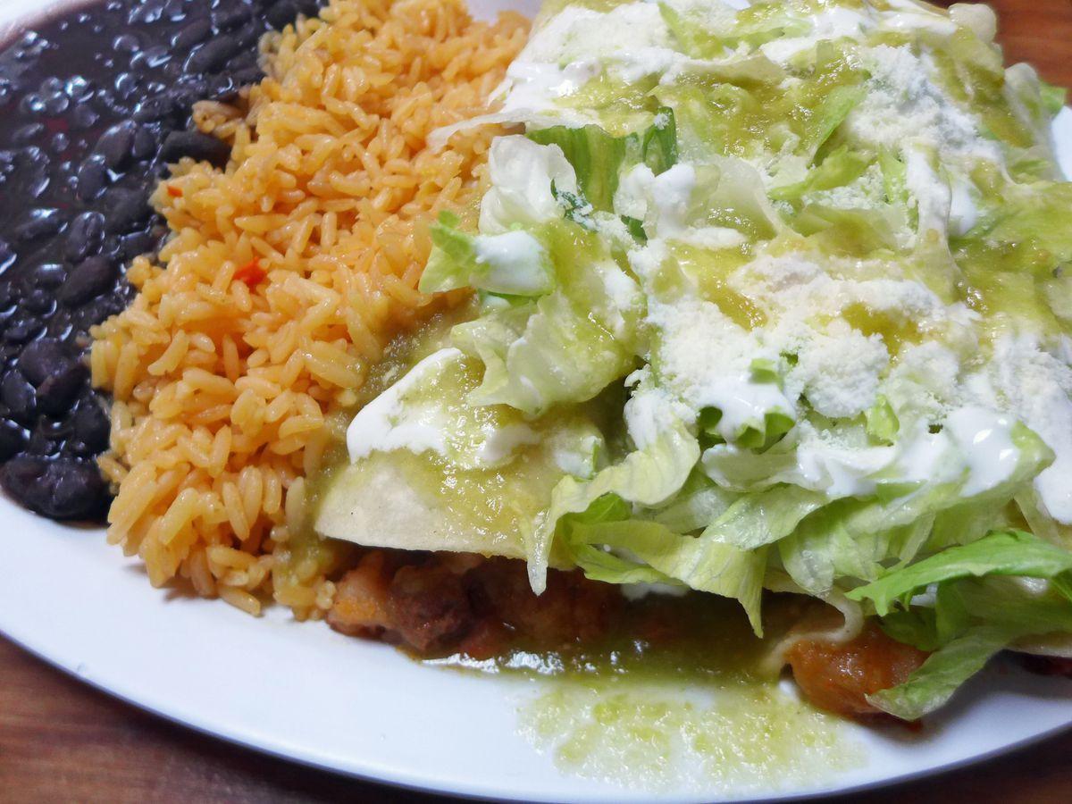 Potato and chorizo enchiladas