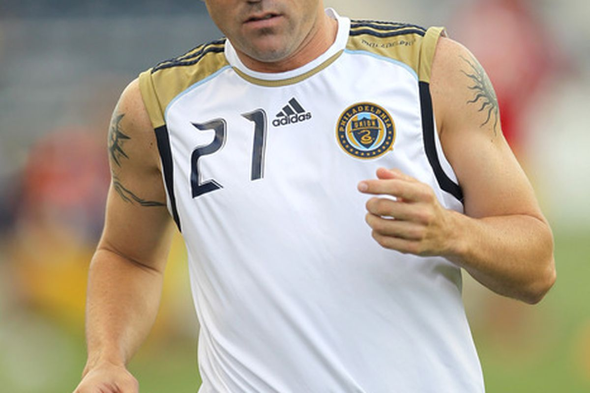 CHESTER PA - AUGUST 11: Midfielder Eduardo Coudet #21 of the Philadelphia Union warms-up before the game against Real Salt Lake at PPL Park on August 11 2010 in Chester Pennsylvania. The game was a 1-1 tie. (Photo by Hunter Martin/Getty Images)