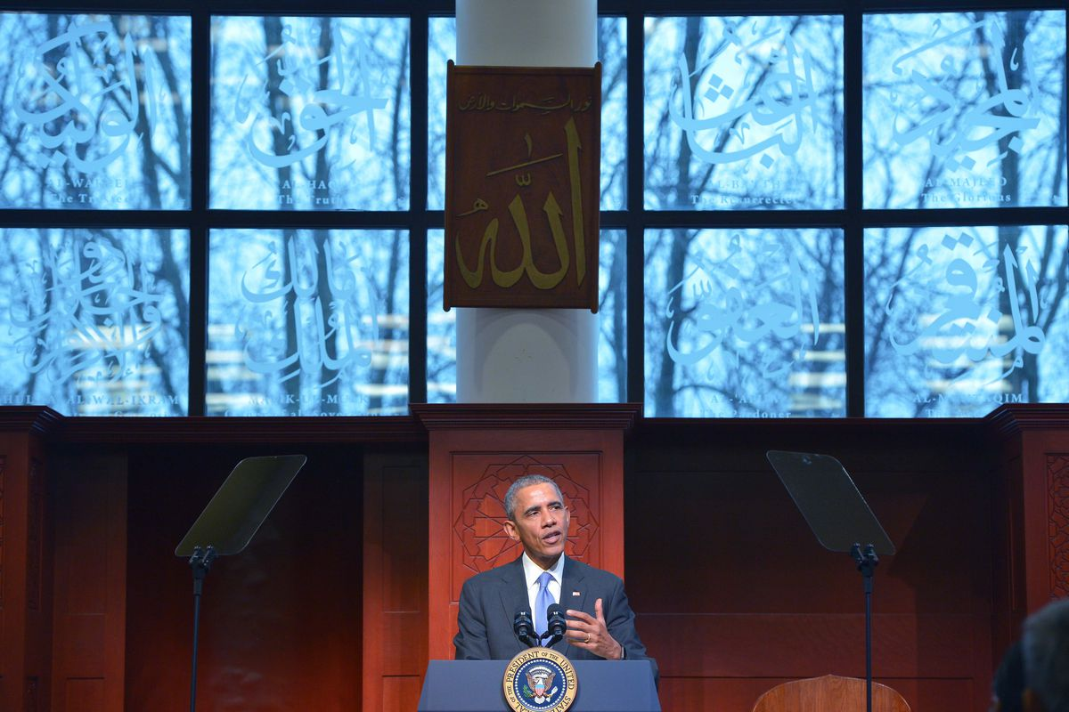 US President Barack Obama speaks at the Islamic Society of Baltimore, in Windsor Mill, Maryland, on February 3, 2016.