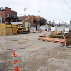 12:34 p.m. Looking north in the Blue Lot, currently being used as a construction staging area -