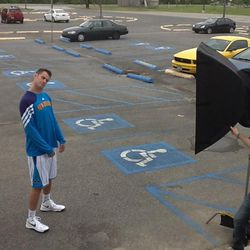 Jason Smith In A Handicapped Parking Lot