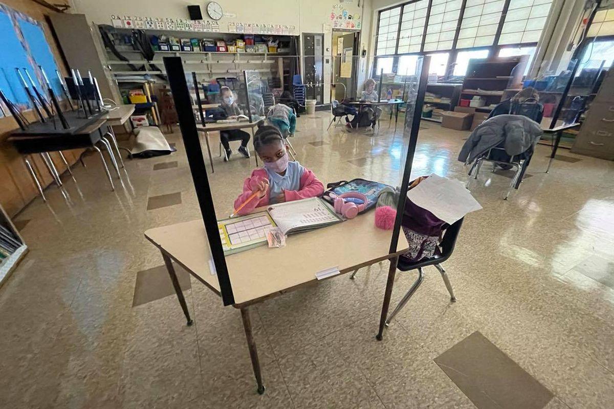 A kindergarten student at Chester Arthur Elementary in South Philadelphia.