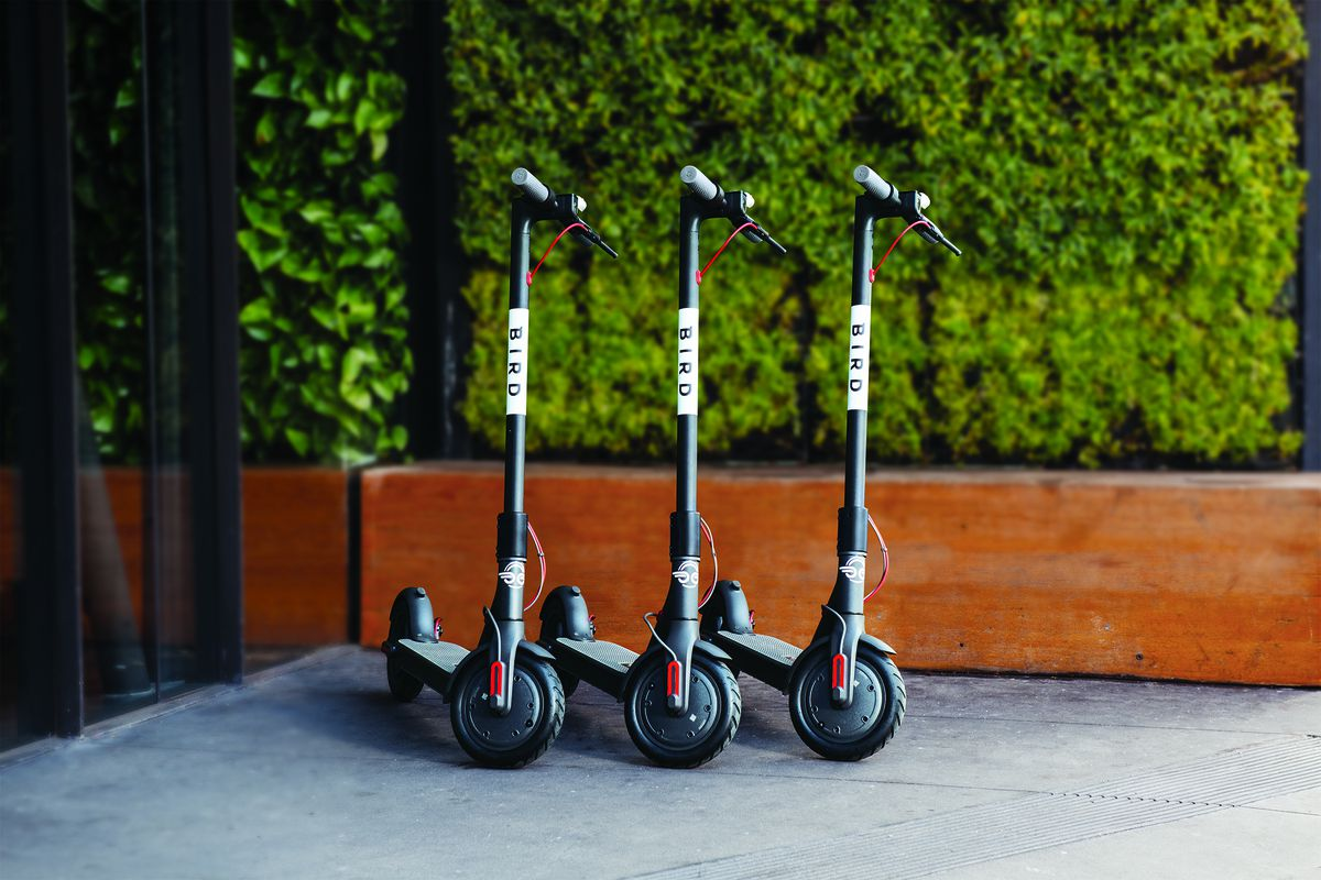 E-scooters in a row.