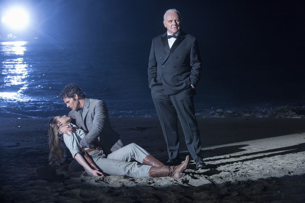 Anthony Hopkins stands over Evan Rachel Wood and James Marsden in the Westworld season finale.
