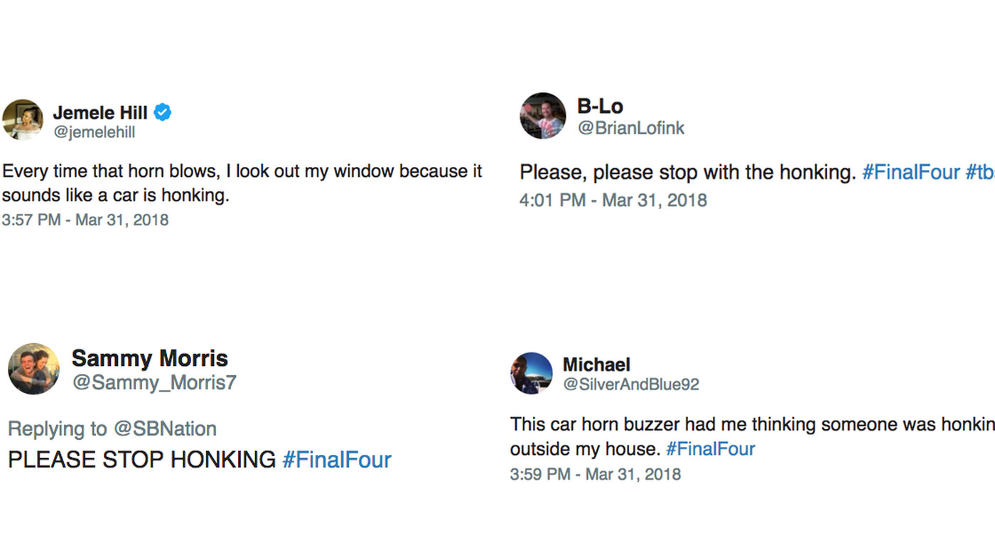 The Final Four buzzer sounds like a car horn and everyone's