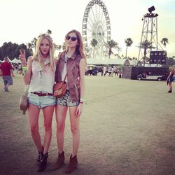 "Shea with Italian blogger Chiara of <a href=""http://www.theblondesalad.com/"">The Blonde Salad</a>. Photo via <a href=""http://instagram.com/p/YEXj8pr0RR/"">PeaceLoveShea</a>/Instagram."