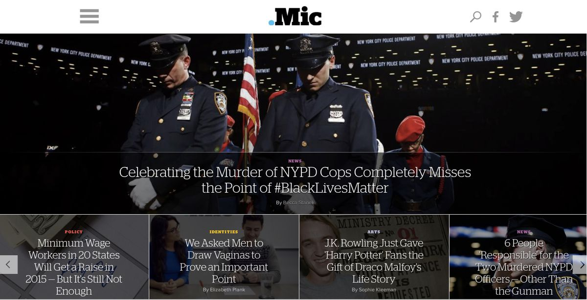 A recent front page of Mic.com
