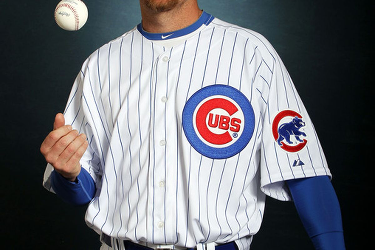 MESA, AZ - FEBRUARY 27:  Pitcher Ryan Dempster #46 of the Chicago Cubs poses during spring training photo day on February 27, 2012 in Mesa, Arizona.  (Photo by Jamie Squire/Getty Images)