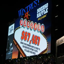 The 50/50 Raffle wining numbers, and the total jackpot