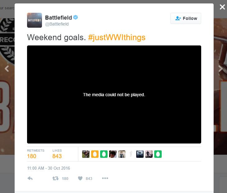 Battlefield 1 - deleted flamethrower tweet screencap