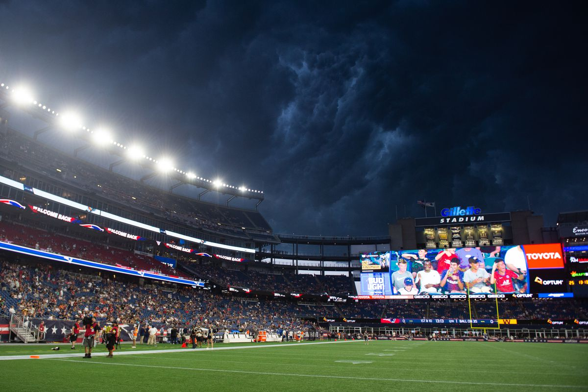 Clouds roll in at Gillette Stadium prior to the start of the game between the Washington Football Team and New England Patriots on August 12, 2021 in Foxborough, Massachusetts.