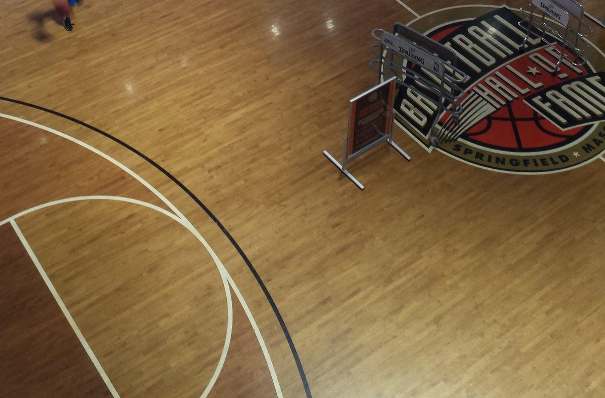 Basketball court at the basketball hall of fame.