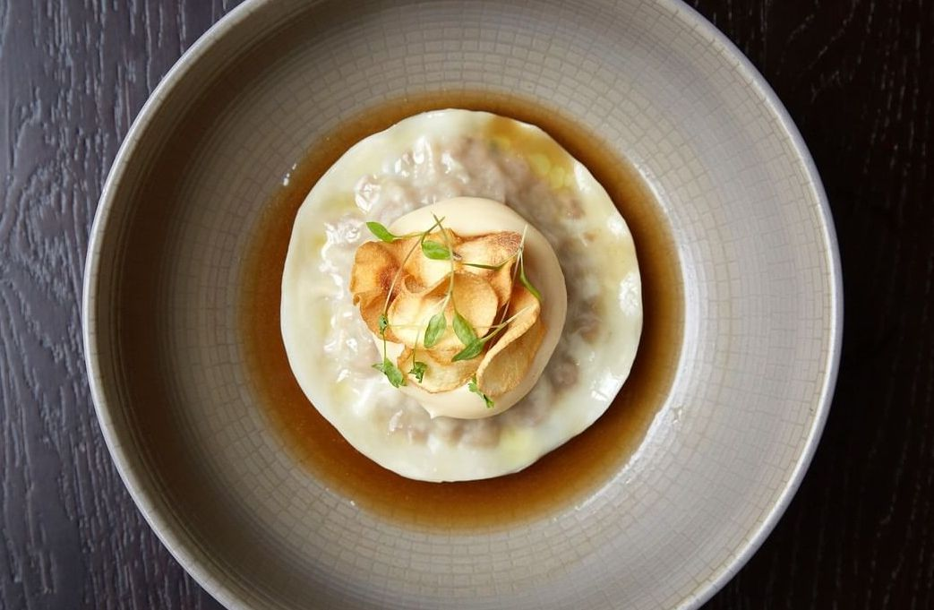 Shortrib raviolo: Part of the Mother's Day meal kit from Tredwell's, the central London restaurant by Chantelle Nicholson, which is closed as a result of coronavirus lockdown