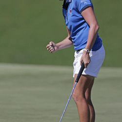 Stacy Lewis reacts after saving a par on the 11th hole during final round play in the Navistar LPGA Classic golf tournament, Sunday, Sept. 23, 2012, at the Robert Trent Jones Golf Trail in Prattville, Ala.