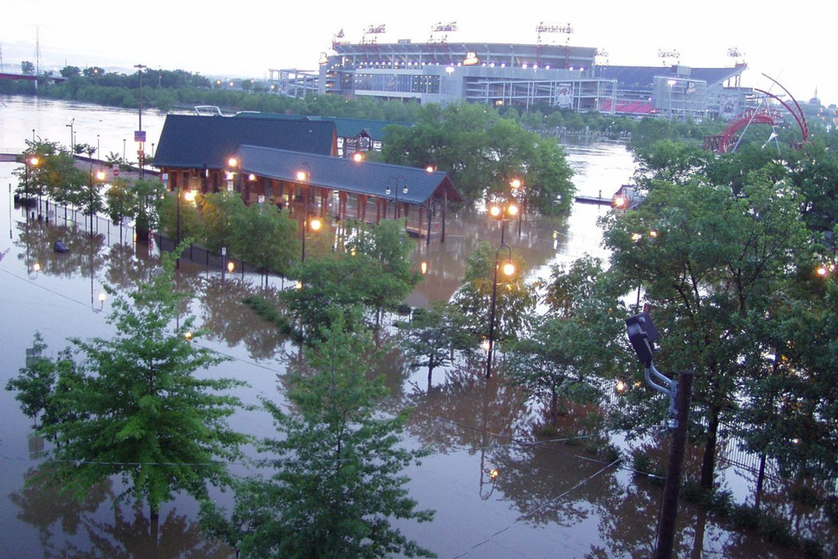 """A view of The Cumberland and LP Feild from the Shelby St. Pedestrian Bridge. Source: <em><a href=""""http://www.flickr.com/photos/keithgallagher/4574048657/"""" target=""""new"""">President Raygun</a></em>."""