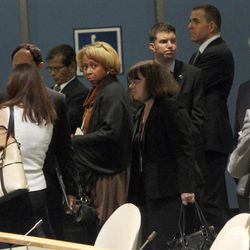 Members of the U.S. delegation leave the room before Iran's President Mahmoud Ahmadinejad addresses the 67th session of the United Nations General Assembly at U.N. headquarters, Wednesday, Sept. 26, 2012.