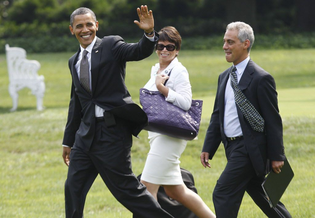 President Barack Obama, senior adviser Valerie Jarrett, and then-White House chief of staff Rahm Emanuel, on the White House South Lawn in 2010. Jarrett, a former part-time CTA board chair, has a $35,660-a-year CTA pension.   Charles Dharapak/AP