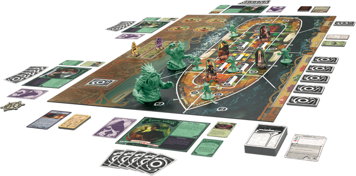 A board showing the cross section of a ship with green, Cthulhu-inspired monsters in the surrounding ocean.
