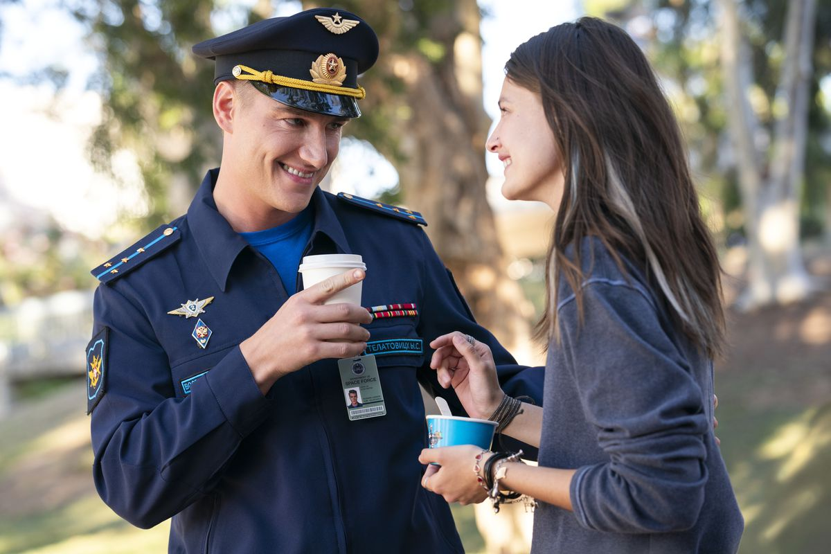 alex sparrow as yuri and diana silvers as erin in space force