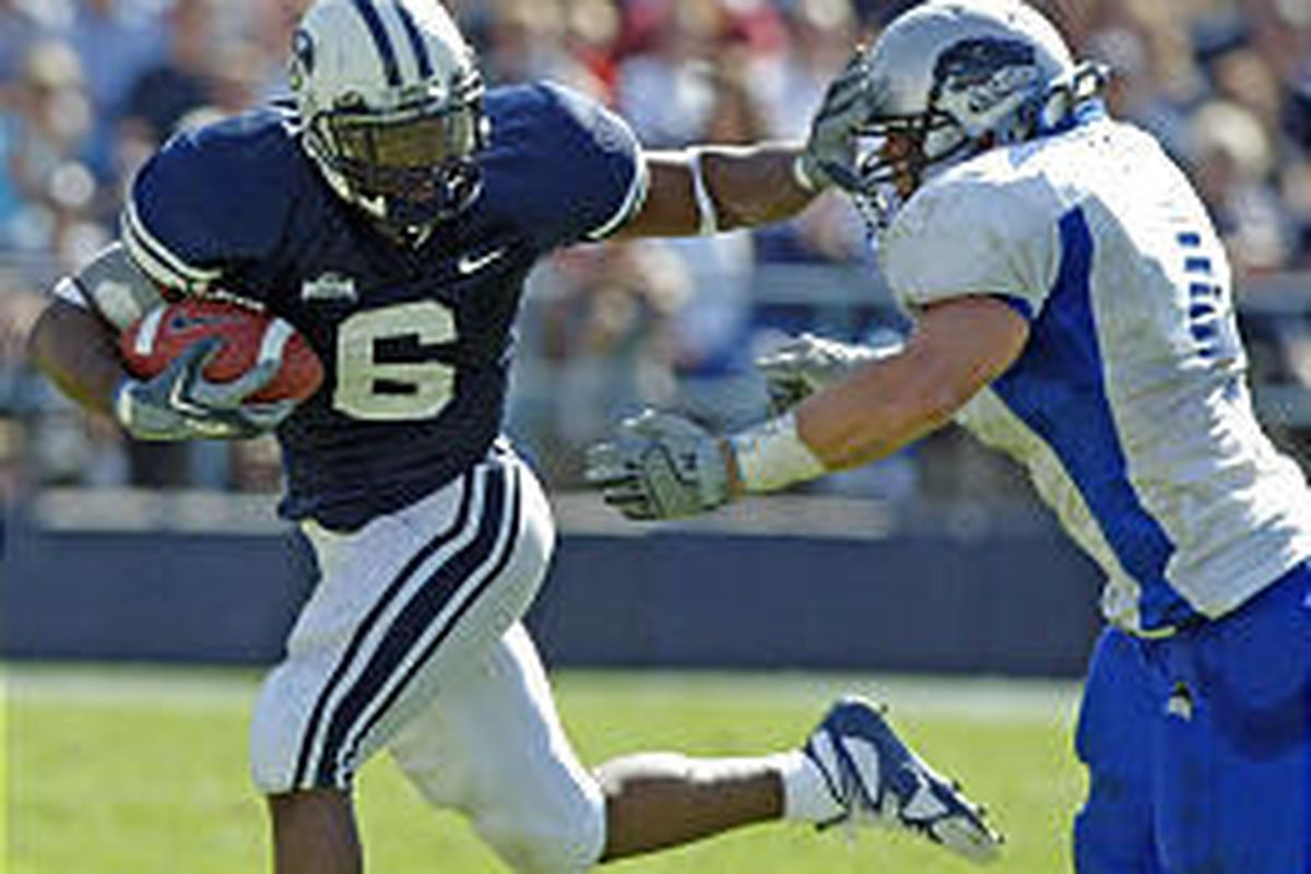 BYU's Curtis Brown (6) tries to fend off the tackle of Eastern Illinois' Cline Sellers.